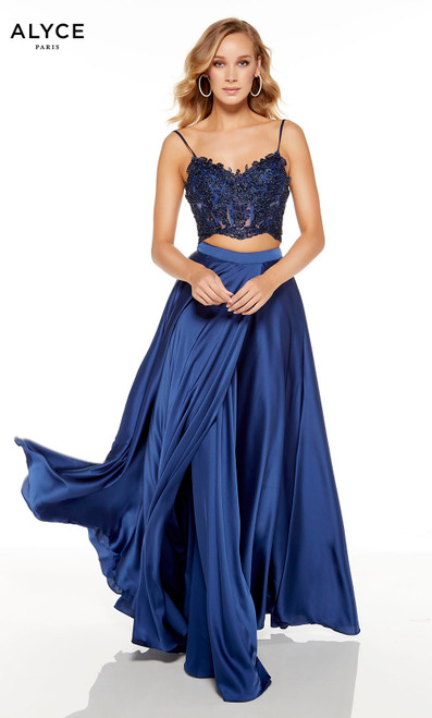 Navy Blue two piece red-carpet dress with an embroidered crop top and a V-neckline