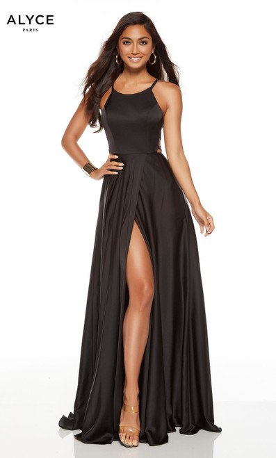 Formal black dress with a halter neckline and a high slit