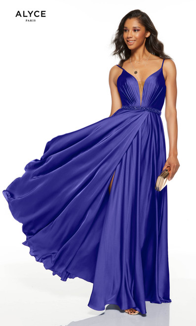 Flowy Cobalt Blue prom dress with a plunging neckline, beaded belt and front slit