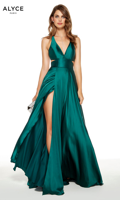 Pine wedding guest dress with a plunging neckline and a slit