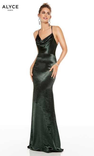 Forest Green formal dress with a cowl neck