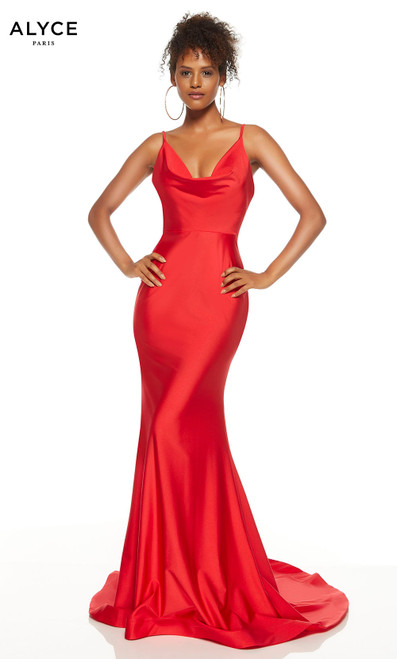 Red mermaid formal dress with a cowl neck