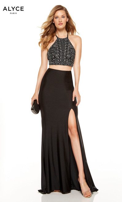 Black two piece formal dress with a beaded halter top and front slit