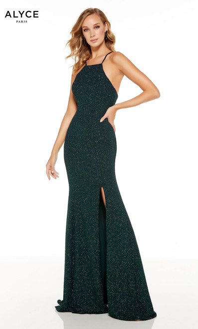 Pine bodycon formal dress with a square halter neckline and a slit