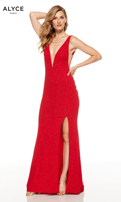 Red formal gown with a plunging neckline and a slit
