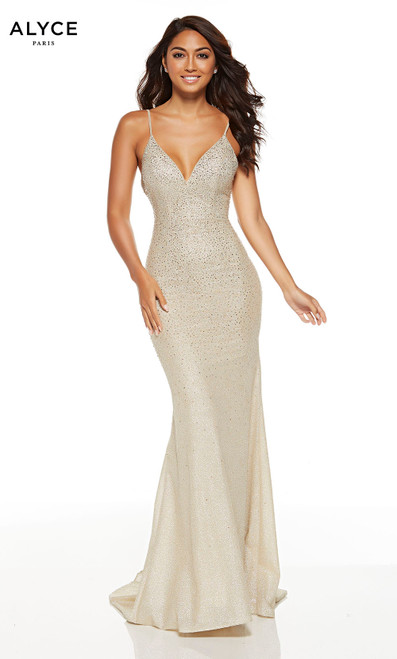 Light Gold jewel accented bodycon prom dress with a V-neckline