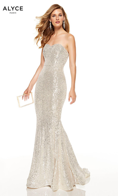 Sand colored strapless sequin mermaid dress