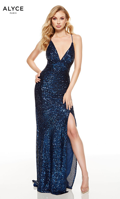 Navy Blue sequin red-carpet dress with a plunging neckline and a slit