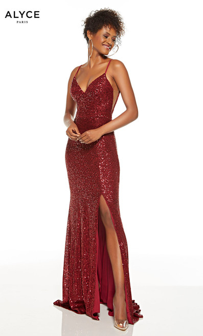 Wine Red sequin prom dress with a V-neckline and a slit