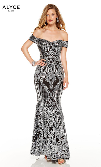 Black-Silver sequin off shoulder formal dress with an abstract pattern design