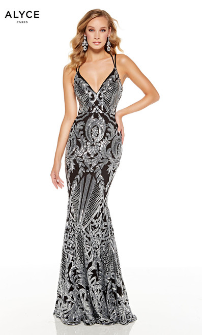 Black-Silver sequin mermaid gown with an abstract pattern design and a  V-neckline