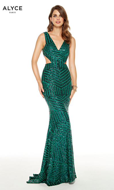 Pine Green sequin mermaid guest of wedding dress with side cutouts and a V-neck
