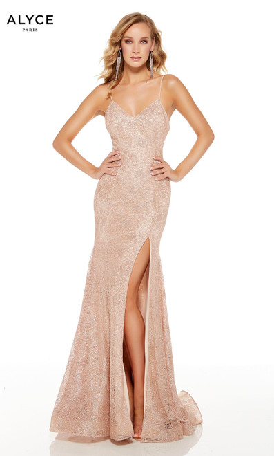 Rose Gold glitter lace prom dress with a V-neckline and a slit