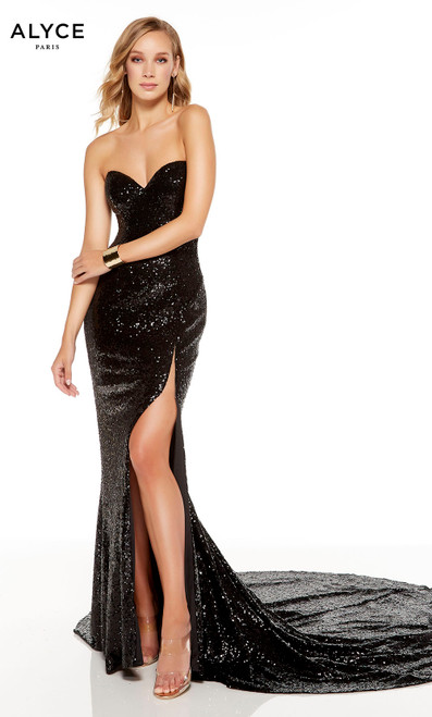 Strapless Black sequin red-carpet dress with a slit and a long train