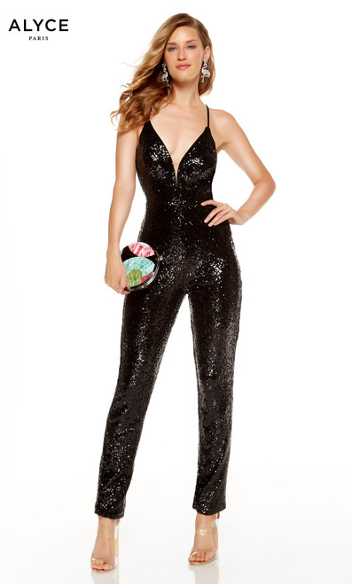 Black sequin formal jumpsuit with a plunging neckline