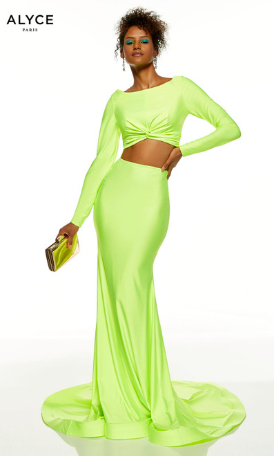 Citronelle two piece bodycon dress with long sleeve crop top featuring a bateau neckline