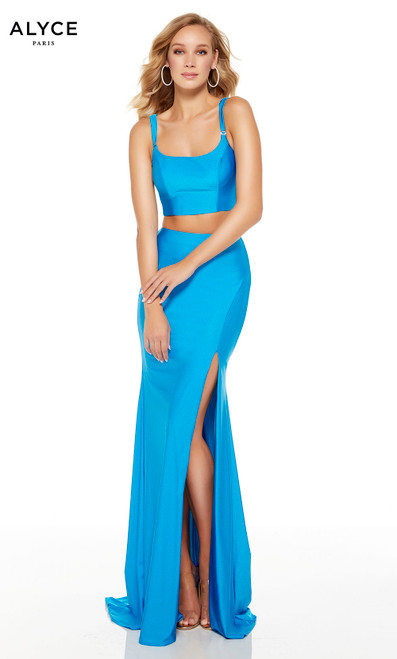 Ocean Blue two piece prom dress with a scooped neckline and a slit