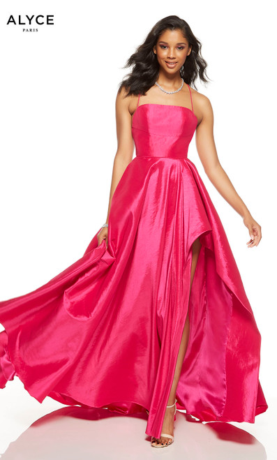 Flowy Raspberry Pink formal dress with a square neckline and a slit