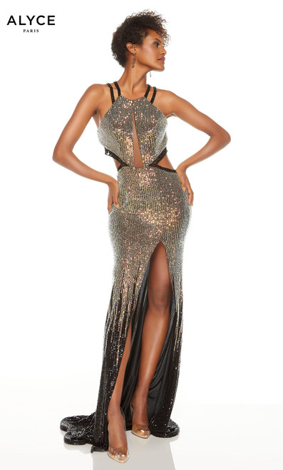 Gold-Black ombre sequin prom dress with a halter neckline, cutouts and a slit