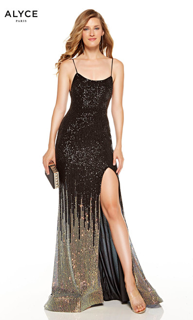 Black-Gold ombre sequin formal dress with a scooped neckline and a slit