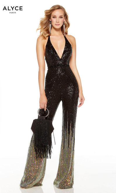 Black-Gold ombre sequin jumpsuit with a plunging neckline