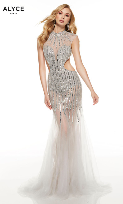 Silver embellished mermaid dress with an illusion neckline and side cutouts