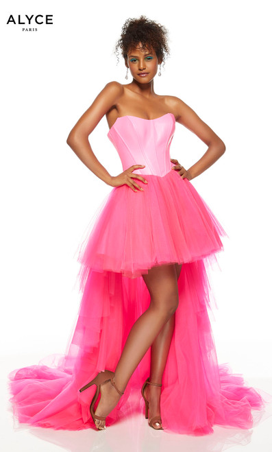 Strapless Neon Pink high low formal dress with a long train