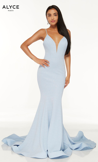 Glacier Blue mermaid prom dress with a plunging neckline