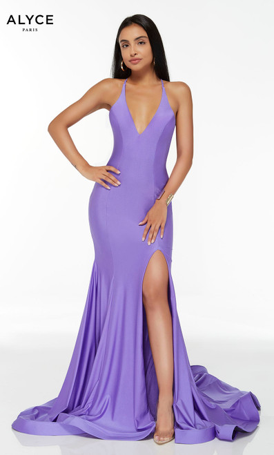 Violet mermaid formal dress with a plunging neckline and a slit