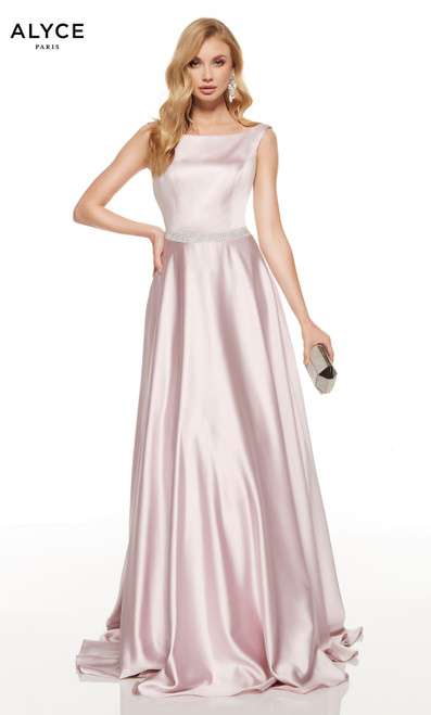 Chalk Pink formal dress with a bateau neckline