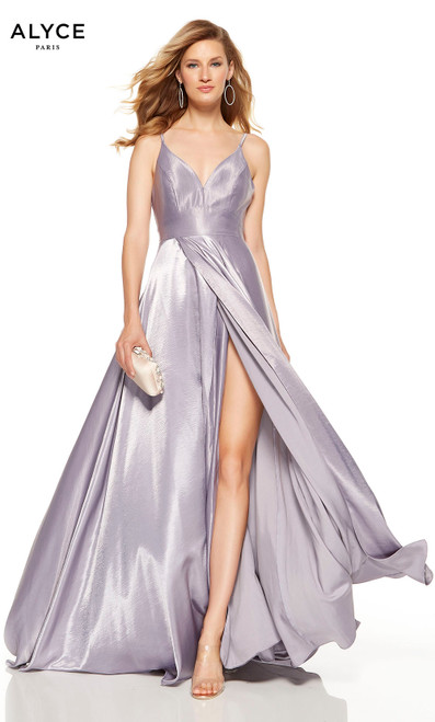 Lilac-Grey formal dress with a V-neck and a high slit