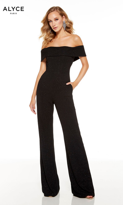 Black off the shoulder straight leg jumpsuit with pockets