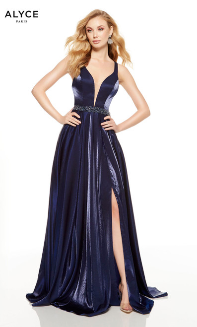 Navy prom dress with a slit and plunging neckline