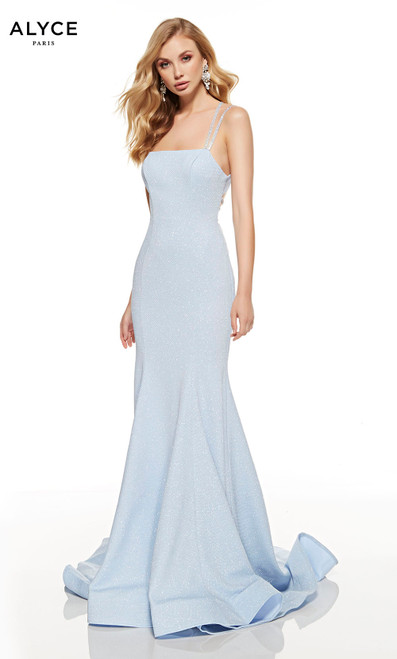 Glacier Blue mermaid style prom dress with a squared neckline and a sweep train