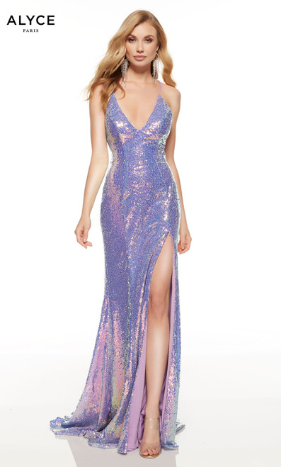 Unicorn-Violet sequin prom dress with a strappy back and a train