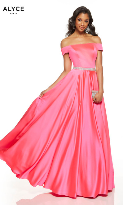 Barbie Pink off the shoulder formal dress