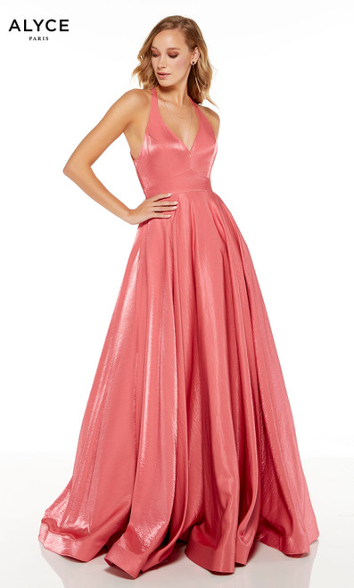 Demure formal dress with a V-neckline