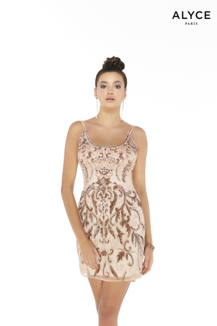 Bisque colored fully beaded/embroidered mini dress with a scoop neckline