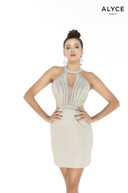 Champagne colored glitter mini dress with a halter neckline and silver beading on bodice