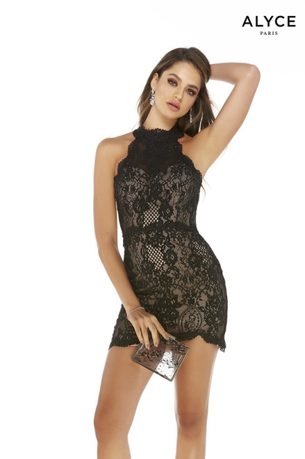 Black and Tan lace halter mini homecoming party dress