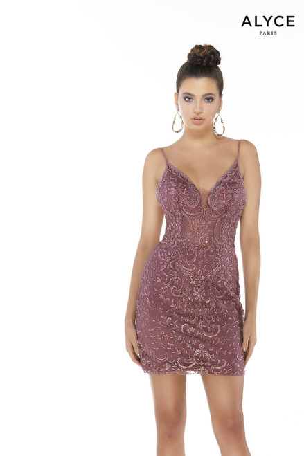 Cassis fully beaded/embroidered fitted mini dress for party