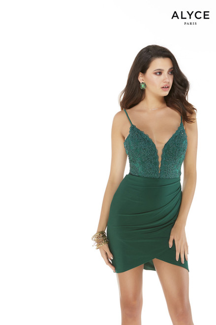 Pine Green bodycon mini dress with an embroidered bodice, a plunging neckline, and draped skirt