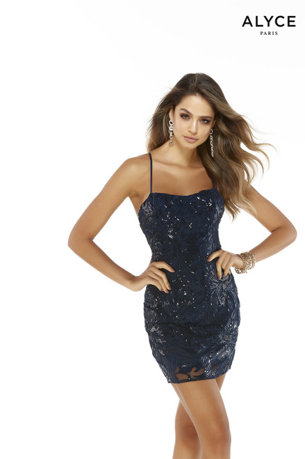 Blue Opal sequin mini dress with a square neckline