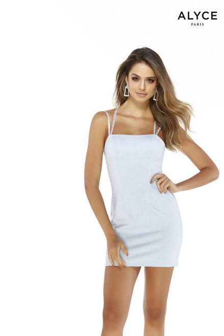 Light Blue short glitter bodycon dress with a square neckline and embellished straps