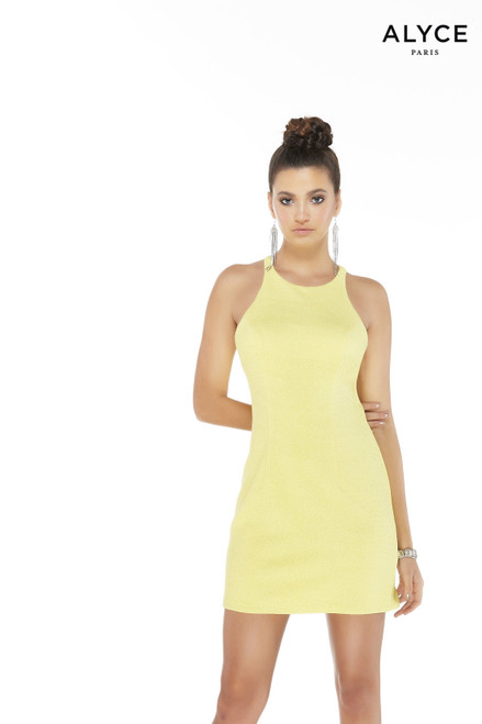 Light Yellow glitter jersey short semi formal dress with a scoop neckline