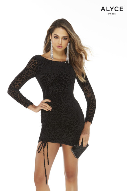 Black leopard print burnout short bodycon dress long sleeve with adjustable ruching on the right side