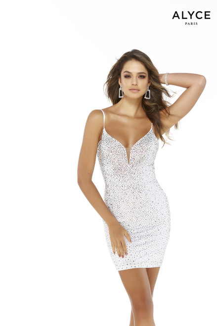 Iridescent heat-set stone embellished short white bodycon dress with a plunging neckline