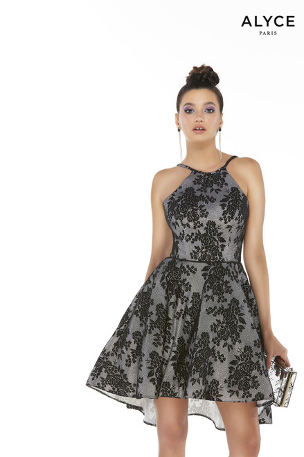Sleeveless High-low chrome lace cocktail dress for juniors with a halter neckline