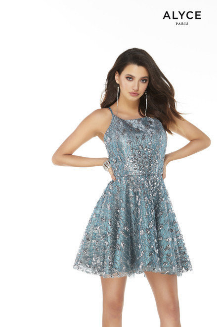 Short Peacock-Silver fit-n-flare dress with a square neckline