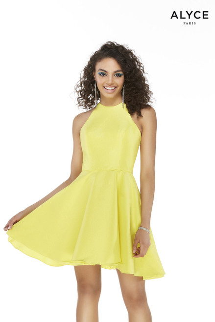 Short Bright Yellow stretch taffeta fit and flare halter dress
